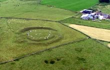 Aerial view of the Arbor Low henge monument in the Peak District.