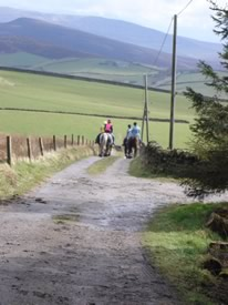 setting off down the lane from Rushop Hall for a day on the Bridleway.