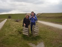 Walkers at the junction of the Tissington and High Peak trails.